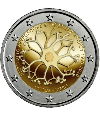 moneda 2 euros Chipre 2020 dedicada a Instituto Neurología y Genética .  - 3