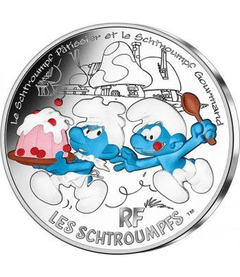 Moneda de plata de Francia año 2020 50 euros Pitufo Pastelero y Goloso.  - 1