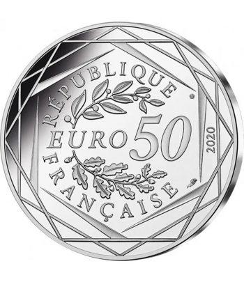 Moneda de plata de Francia año 2020 50 euros Pitufo Pastelero y Goloso.  - 2