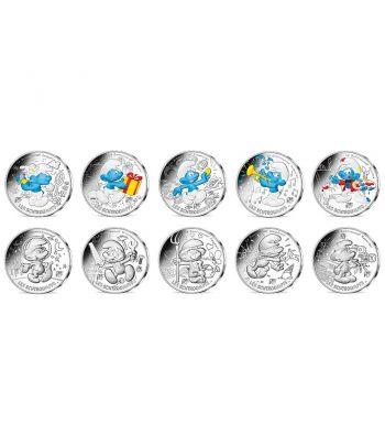 Serie de 10 Monedas de plata de Francia año 2020 10€ Los Pitufos 2ªparte  - 1