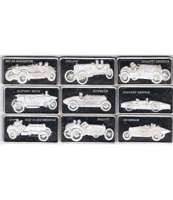 Lote 9 Lingotes de plata de coches clásicos. Peso 281,70 gramos  - 1