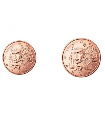 monedas 1 y 2 céntimos de euro Francia 2021. 2 monedas.  - 1