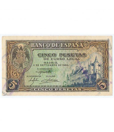 Billete de España (1940/09/04) 5 Pesetas. EBC+. Serie B8774357  - 1