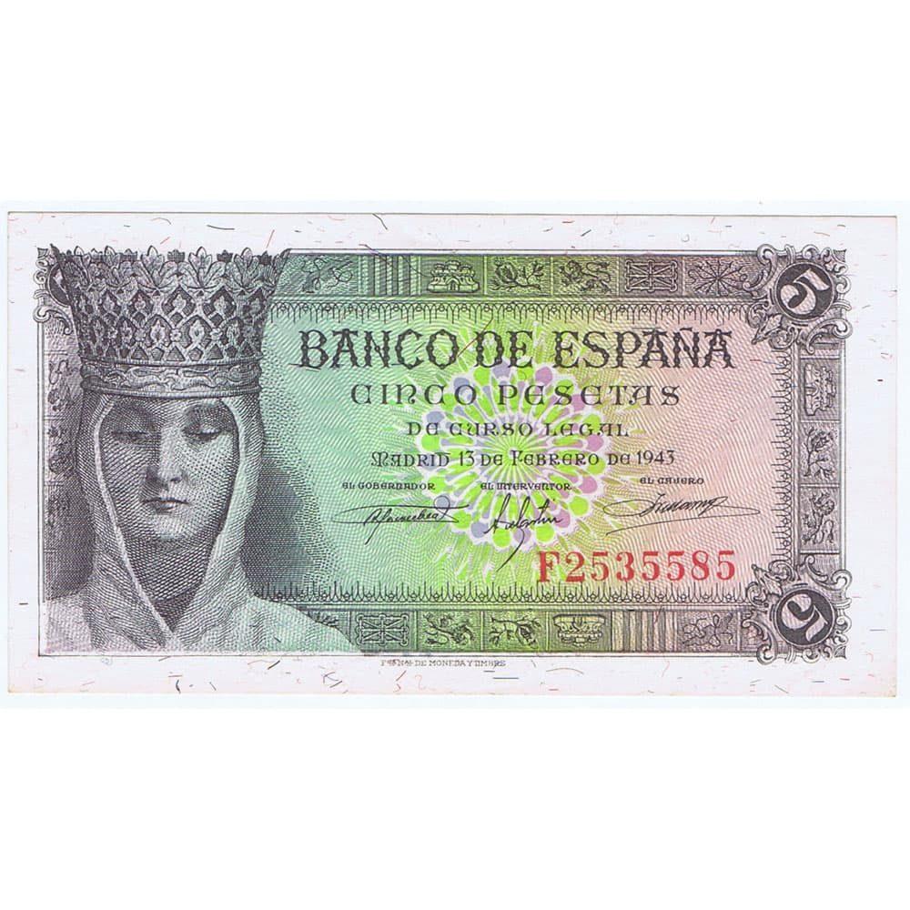 Billete de España (1943/02/13) 5 Pesetas. SC-. Serie F2535585  - 1