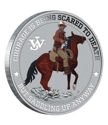 Moneda de plata de 1 onza 2$ Tuvalu John Wayne año 2021 Coloreada  - 1