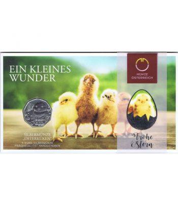 moneda de plata Austria 5 Euros 2021 Pascua.  - 1