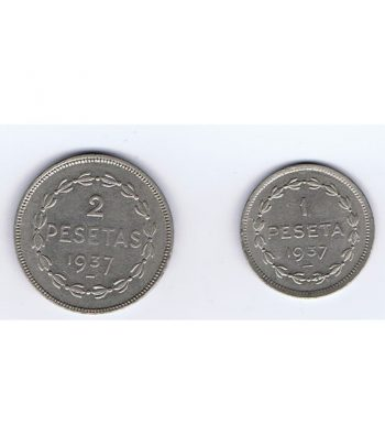 Monedas 1 y 2 pesetas Gobierno de Euskadi 1937  - 1