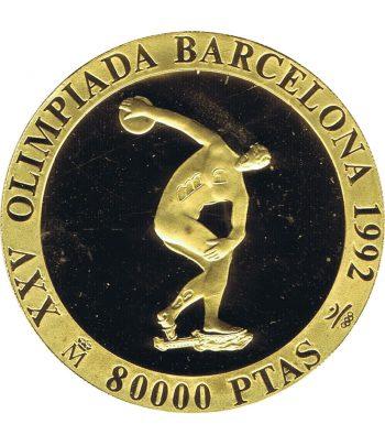 Moneda de oro de España 80.000 Pesetas Barcelona 92 Discóbolo año 1990 .  - 1