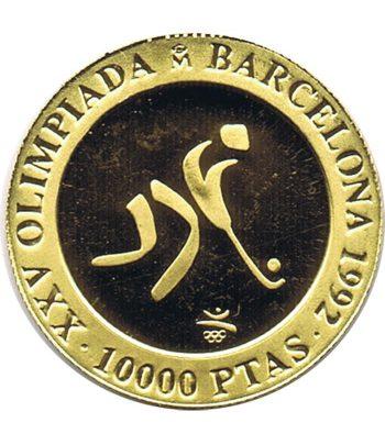 Moneda de oro de España 10.000 Pesetas Barcelona 92 Hockey año 1990 .  - 1