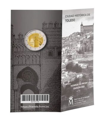 Euroset 2 Euros España 2021 Toledo. Cartera oficial Proof  - 1