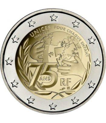 moneda 2 euros Francia 2021 dedicada a Unicef.  - 1