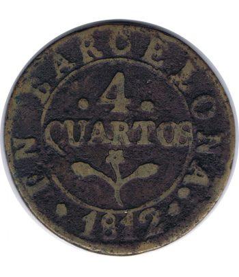 Moneda de cobre 4 Quartos año 1812 Napoleon Barcelona.  - 1
