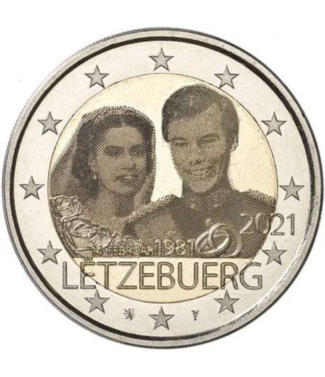 moneda 2 euros Luxemburgo 2021 dedicada al Duque Guillermo. Holograma  - 1