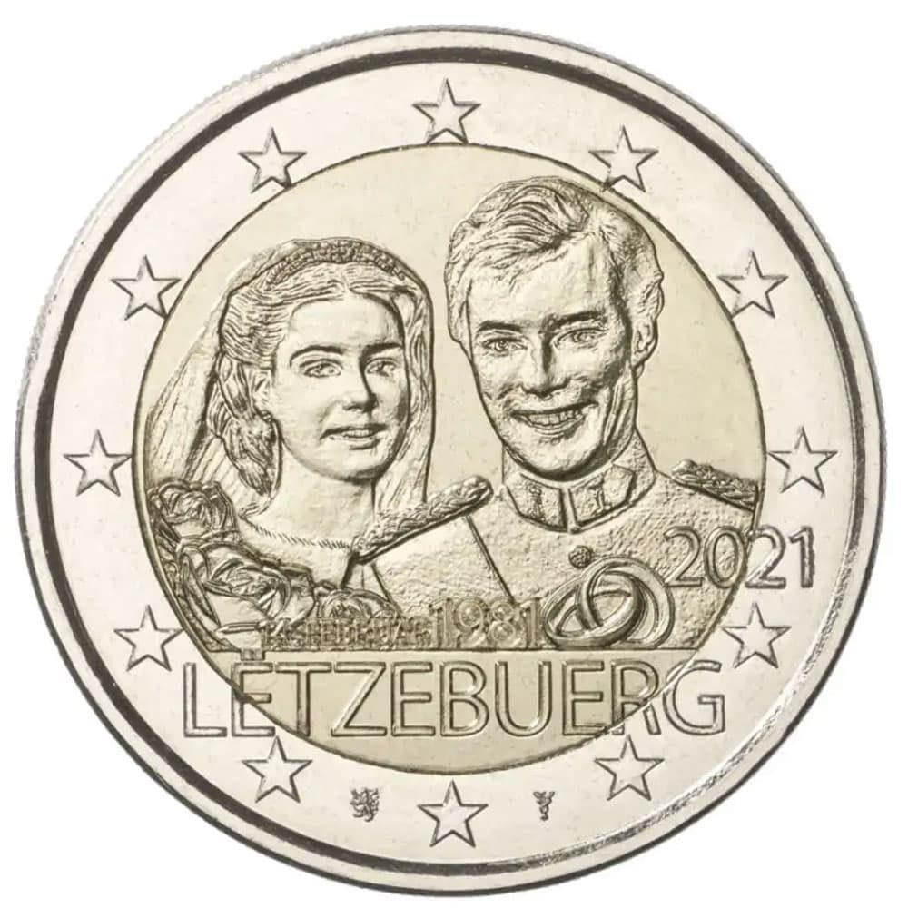 moneda 2 euros Luxemburgo 2021 dedicada al Duque Guillermo.  - 1