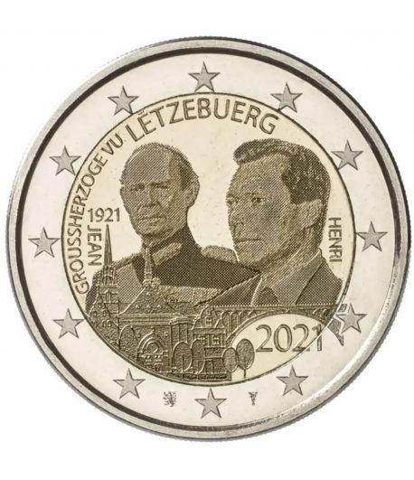 moneda 2 euros Luxemburgo 2021 dedicada al Duque Jean. Holograma  - 1