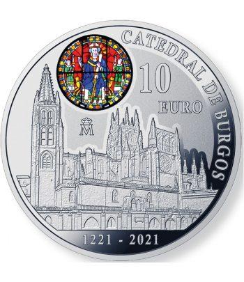 Moneda de España año 2021 Catedral de Burgos. 10 euros Plata  - 1