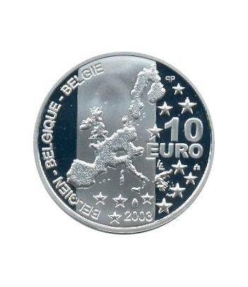 moneda Belgica 10 Euros 2003. Estuche proof. Plata.  - 2