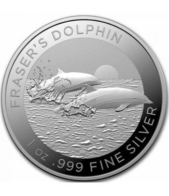 Onza de plata Moneda de Australia 1$ Delfin de Borneo año 2021  - 1