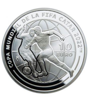 Moneda de España año 2021 Copa Mundial de Fútbol Qatar 2022. 10 euros Plata  - 1
