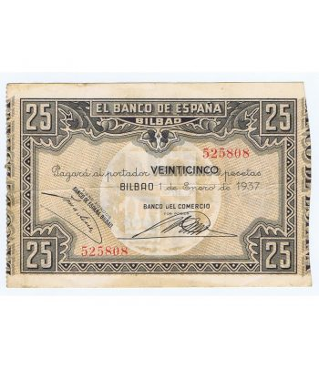 Billete de 25 Pesetas Bilbao 1 de enero de 1937 serie 525808  - 1