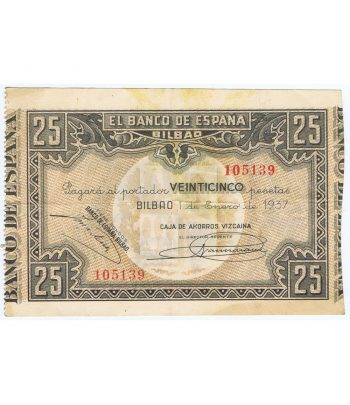 Billete de 25 Pesetas Bilbao 1 de enero de 1937 serie 105139  - 1