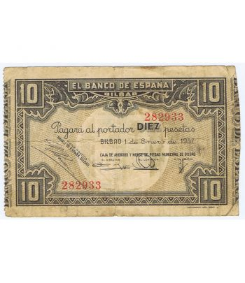 Billete de 10 Pesetas Bilbao 1 de enero de 1937 serie 282933  - 1