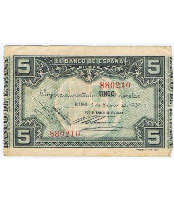 Billete de 5 Pesetas Bilbao 1 de enero de 1937 serie 880210  - 1