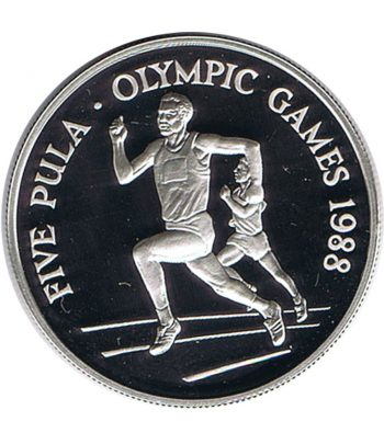 Moneda de plata de Botswana 5 Pula JJOO Seul 1988  - 1