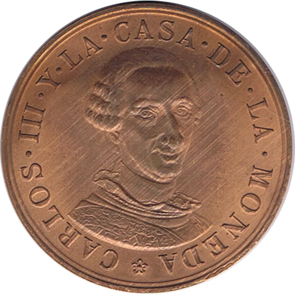 Medalla de cobre conmemorativa del Bicentenario de Carlos III.  - 1