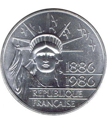 Moneda de plata de Francia 100 Francs Estatua Libertad año 1986  - 1