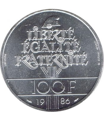 Moneda de plata de Francia 100 Francs Estatua Libertad año 1986  - 2