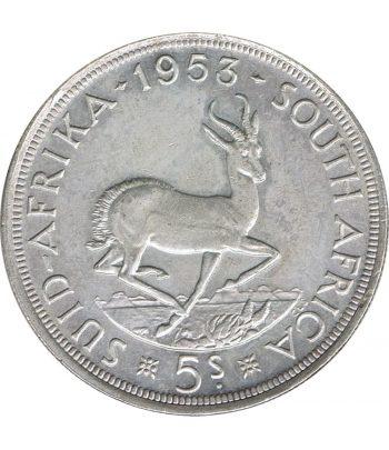 Moneda de Sudafrica 5 Chelines de plata año 1953  - 1