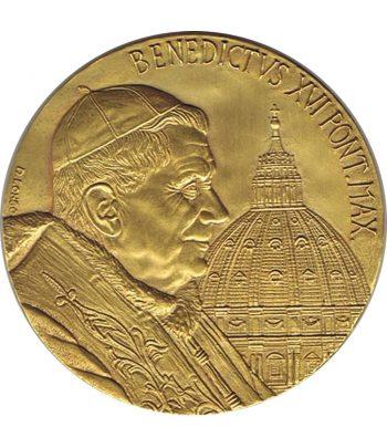 Medalla de Vaticano Benedicto XVI en Cuba y México año 2012 en bronce  - 1