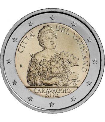 moneda 2 euros Vaticano 2021 dedicada al pintor Caravaggio  - 1