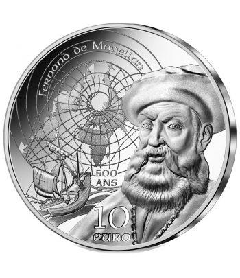Moneda 10 euros de plata Francia año 2021 Magallanes  - 1