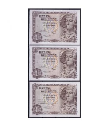 Billete de España 1 Peseta 19 de junio de 1948. 3 correlativos  - 1