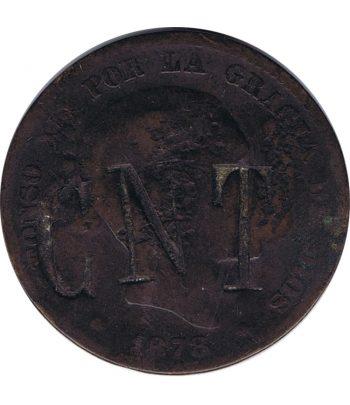 Moneda de España 10 céntimos de Peseta de Bronce 1878 CNT y FAI.  - 1