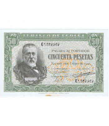 Billete de España 50 Pesetas 9 de enero de 1940. Manchas  - 1