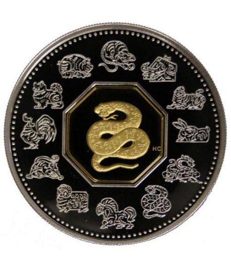 Canada 15$ (2001) Calendario Chino  Serpiente - Plata y Oro  - 2