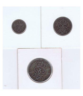 Monedas de 1, 3 y 5 Ore de Suecia del año 1950  - 1