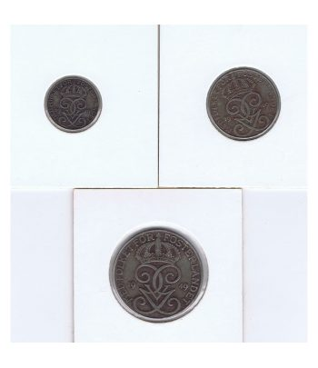 Monedas de 1, 3 y 5 Ore de Suecia del año 1949  - 1