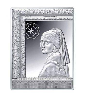Moneda de plata de Francia año 2021 10 euros La Joven ve la Perla  - 1