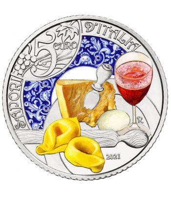 Moneda de Italia año 2021 5 euros Lambrusco y Tortellini  - 1