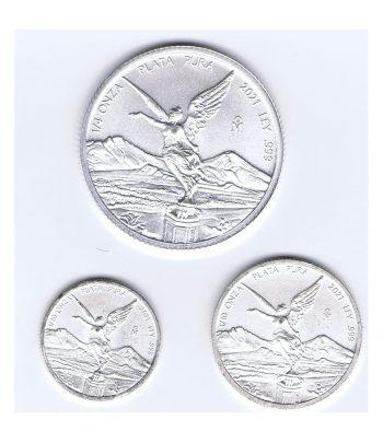 3 Moneda de plata México 1/4, 1/10 y 1/20 de onza año 2021  - 1