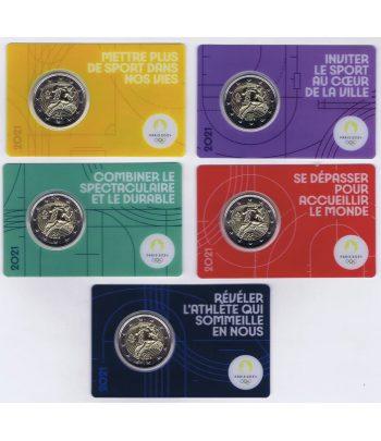 moneda 2 euros Francia 2021 dedicada a Olimpiada 2024. 5 coincards.  - 1