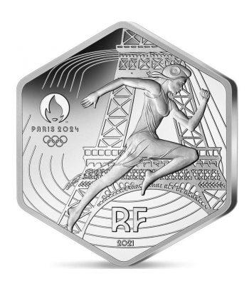 Moneda 10 euros de plata Francia año 2021 JJOO Paris 2024  - 1