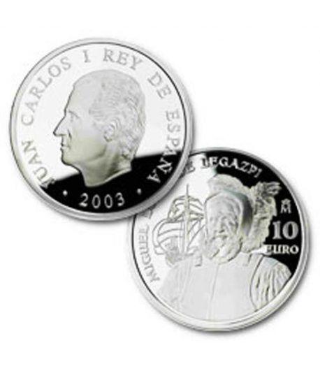 Moneda 2003 500 Anº Miguel López de Legazpi. 10 euros. Plata.  - 2