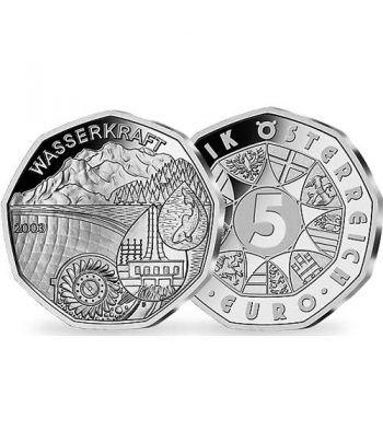 moneda Austria 5 Euros 2003 (nueve esquinas) Año Agua. Estuche  - 1
