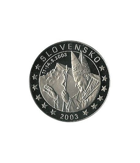 moneda Eslovaquia 5 Euros 2003 Papa Juan Pablo II  - 2