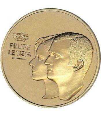 Medalla Boda Felipe y Letizia 2004. Placada en oro.  - 1